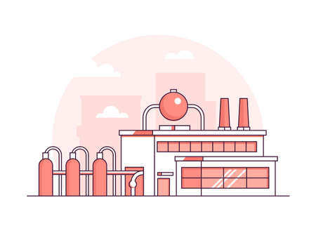 Illustration pour Factory - modern thin line design style vector illustration on white background. Red colored high quality composition with facade of a plant with chimneys, pipes. City architecture. Industrial concept - image libre de droit