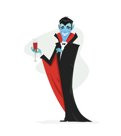 Illustration pour Vampire - cartoon people characters isolated illustration on white background. Smiling Halloween symbol in a black coat standing with a glass of blood. Perfect for banners and presentations - image libre de droit