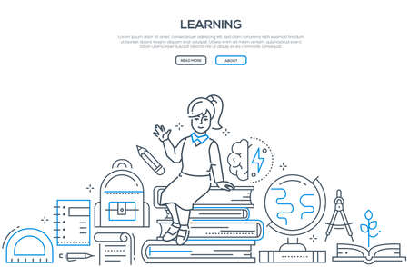 Illustration pour Learning - modern line design style vector banner. High quality composition with happy girl sitting on a pile of books, images of globe, divider, bag, different supplies. School, education concept - image libre de droit