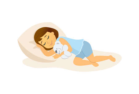Ilustración de Sleeping girl - cartoon people character isolated illustration on white background. High quality composition with a baby lying in bed, hugging a teddy bear. Perfect for your presentations, banners - Imagen libre de derechos