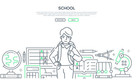 Illustration pour School - modern line design style web banner. High quality linear composition with a happy boy, teenager with a bag ready to go to the lesson. Different school subjects. Education, learning concept - image libre de droit