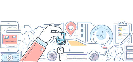 Illustration pour Car rent - modern line design style vector illustration on white background. High quality composition with a vehicle, hand holding key, timer, geo location, check list, ways of payment - image libre de droit