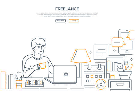 Ilustración de Freelance - modern line design style web banner on white background with copy space for your text. A composition with a young male worker sitting at the laptop, drinking coffee, working from home - Imagen libre de derechos