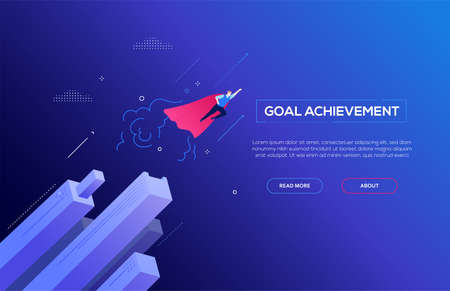 Illustration for Goal achievement - modern isometric vector web banner - Royalty Free Image
