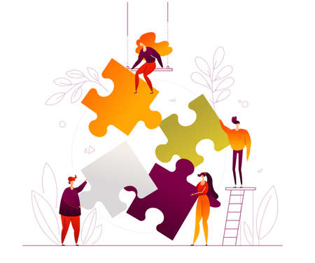 Ilustración de Teambuilding - modern flat design style colorful illustration on white background. High quality composition with cute characters, office workers, colleagues, creative business people doing a puzzle - Imagen libre de derechos