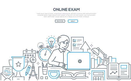 Illustration for Online exam - modern line design style web banner - Royalty Free Image