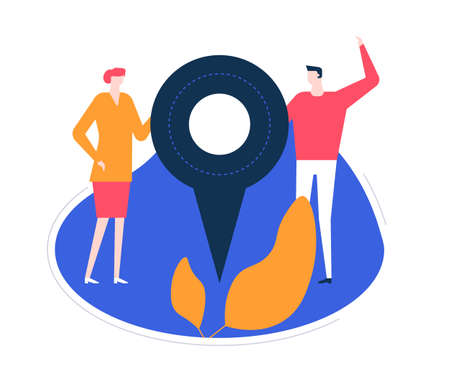 Ilustración de We are here - flat design style colorful illustration on white background. High quality unusual composition with characters, business man, woman holding a map pointer, showing office or shop location - Imagen libre de derechos