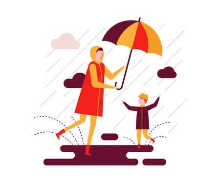 Ilustración de Rainy day - colorful flat design style illustration on white background. Bright unusual composition with a mother and a child walking with an umbrella, a boy slopping about in puddles. Weather concept - Imagen libre de derechos