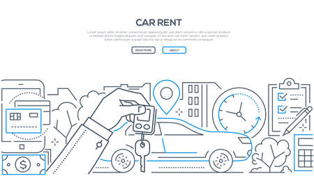 Illustration pour Car rent - modern line design style banner on white background with copy space for text. A composition with a vehicle, hand holding key, timer, geo location, check list, ways of payment - image libre de droit