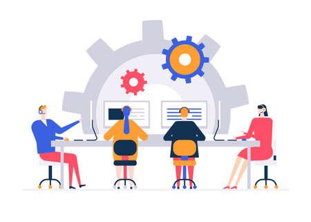 Illustration pour Technical support - flat design style colorful illustration - image libre de droit