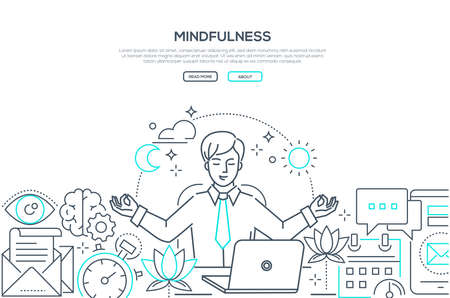 Illustrazione per Mindfulness - modern line design style web banner on white background with copy space for text. A composition with a businessman meditating at work, sitting at the laptop, trying to release stress - Immagini Royalty Free