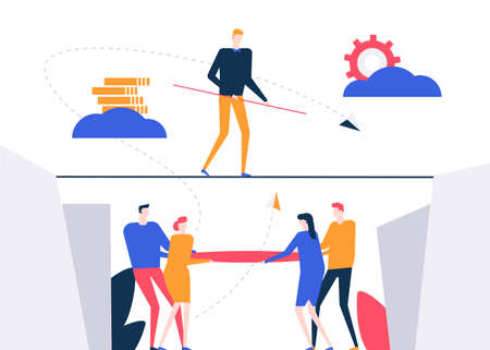 Ilustración de Motivation - colorful flat design style vector illustration on white background. A composition with a businessman walking on a cable, trying to reach goals, business team supporting, ensuring safety - Imagen libre de derechos