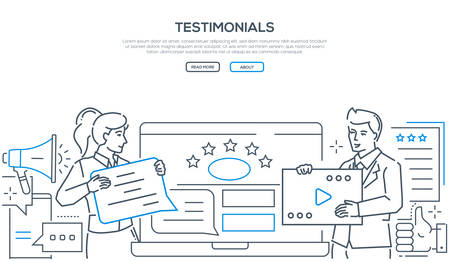 Ilustración de Company testimonials - line design style web banner on white background with copy space for text. A header with a man and woman writing comments, deciding the ratings on the website. Feedback concept - Imagen libre de derechos