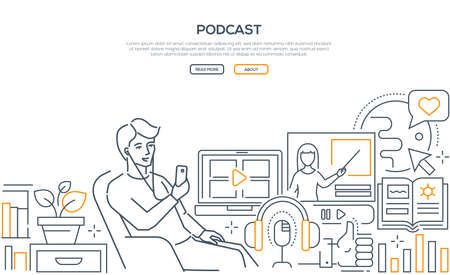 Illustration pour Podcast - modern line design style web banner on white background with copy space for text. Quality header with a boy sitting in a chair, listening to a program in his smartphone, using mobile app - image libre de droit