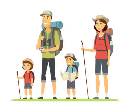 Ilustración de Family goes camping - cartoon people characters illustration on white background. Young parents and their children, boy and girl hiking, with backpacks, maps, mats, compass. Family, leisure concept - Imagen libre de derechos