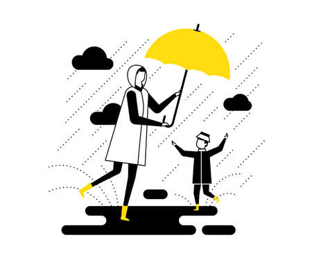Ilustración de Rainy day - flat design style vector illustration. High quality black, yellow and white composition with a mother and a child walking with an umbrella, a boy slopping about in puddles. Weather concept - Imagen libre de derechos