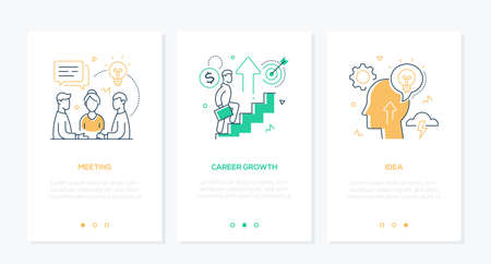 Illustration pour Business and finance - set of line design style vertical web banners with copy space for text. A team, businessman climbing up the stairs, head with lightbulb. Meeting, career growth, idea concepts - image libre de droit