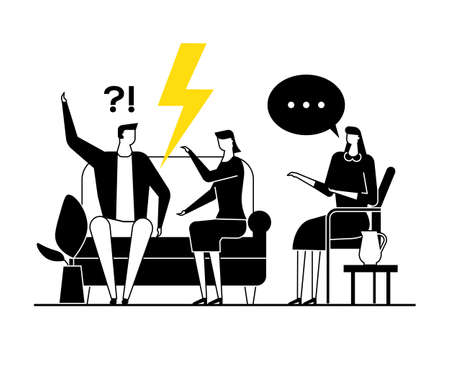 Illustration pour Family psychologist - modern vector flat design style illustration. Black, yellow and white composition with a female specialist consulting an arguing couple, wife, husband having relationship problem - image libre de droit