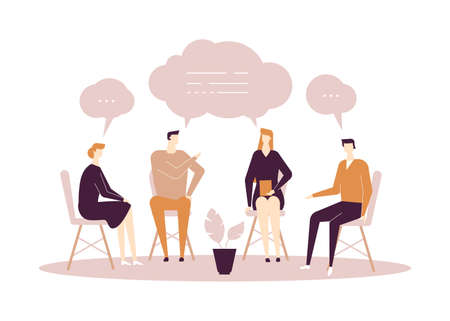Illustration for Group therapy - modern flat design style illustration on white background. High quality composition with men and women sharing their emotions and feelings, talking. Psychological problems concept - Royalty Free Image