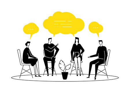 Ilustración de Group therapy - modern flat design style illustration on white background. Black and yellow composition with men and women sharing their emotions and feelings, talking. Psychological problems concept - Imagen libre de derechos