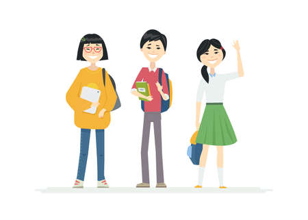 Illustration for Chinese School Children - cartoon people characters illustration on white background. Quality composition with happy teenagers, a boy and girls, students with backpacks standing together, waving hands - Royalty Free Image