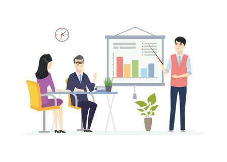 Ilustración de Business Meeting - modern vector cartoon characters illustration. A composition with Chinese office workers at the desk, a young male manager showing diagrams on the flip chart, making a presentation - Imagen libre de derechos
