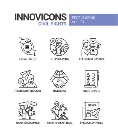 Illustrazione per Civil rights concept line design style icons set - Immagini Royalty Free