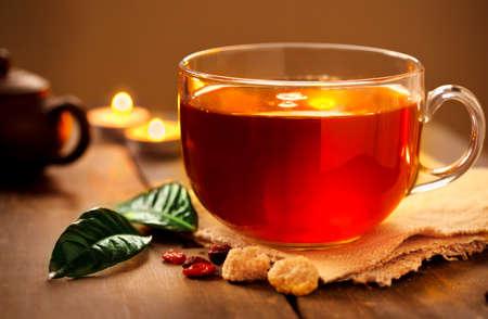 Photo pour evening tea with candles - image libre de droit