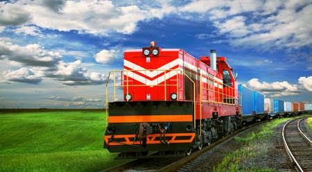 Photo pour freight train with space for text - image libre de droit