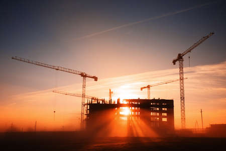 Photo for tower cranes at construction site - Royalty Free Image