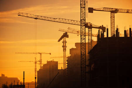 Photo for city of construction cranes - Royalty Free Image