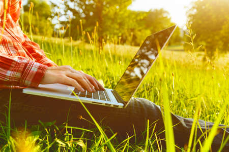 Foto de Hands using laptop and typing in summer grass - Imagen libre de derechos