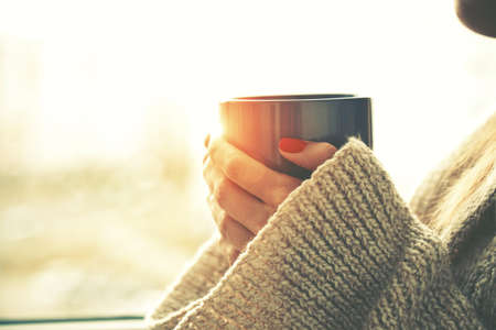 Foto de hands holding hot cup of coffee or tea in morning sunlight - Imagen libre de derechos