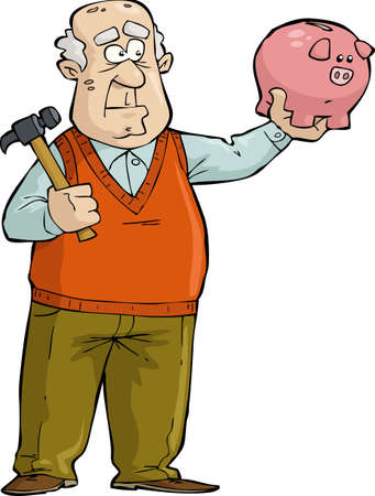 Illustration for The old man thought of broken piggy bank  - Royalty Free Image