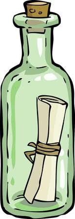 Illustration pour A bottle with a letter  - image libre de droit