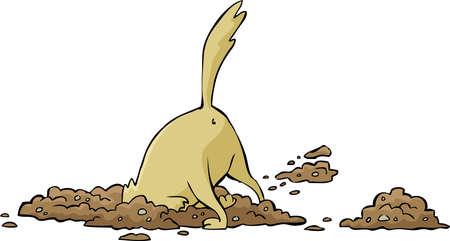 Ilustración de Cartoon dog digs a hole illustration - Imagen libre de derechos