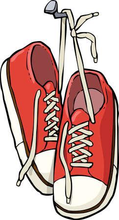 Ilustración de Cartoon shoes on a nail vector illustration - Imagen libre de derechos