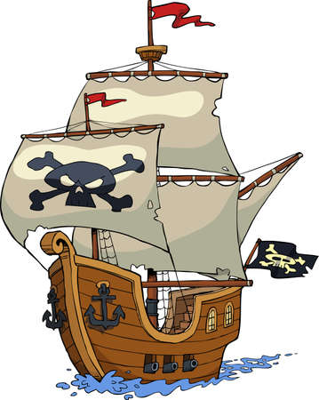 Pirate ship on white background vector illustration