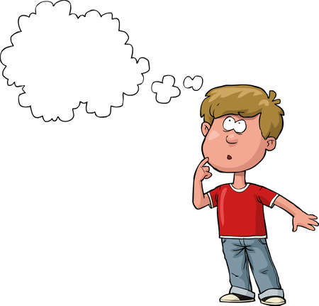 Illustration pour The boy is thinking on a white background vector illustration - image libre de droit
