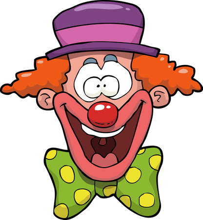 Illustration pour Cartoon doodle happy clown head vector illustration - image libre de droit