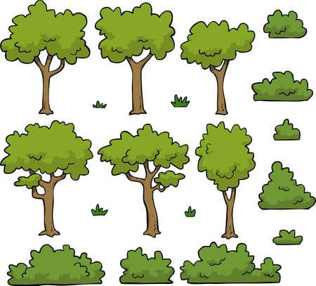 Illustration pour Cartoon doodle set trees and bushes vector illustration - image libre de droit