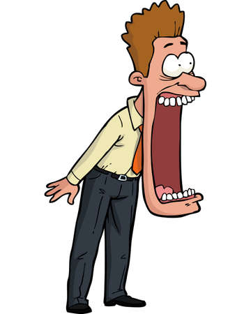 Illustrazione per Cartoon shocked man with his mouth open vector illustration - Immagini Royalty Free