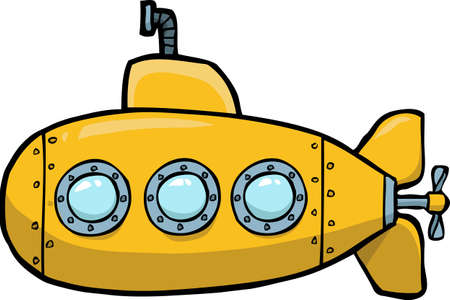 Illustration pour Doodle yellow submarine on a white background vector illustration. - image libre de droit
