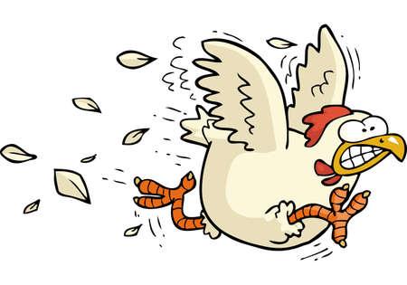 Illustration pour Cartoon doodle running chicken on a white background vector illustration - image libre de droit