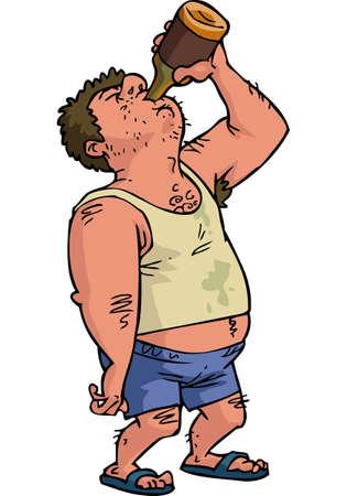 Ilustración de Cartoon doodle man is drinking on a white background vector illustration - Imagen libre de derechos
