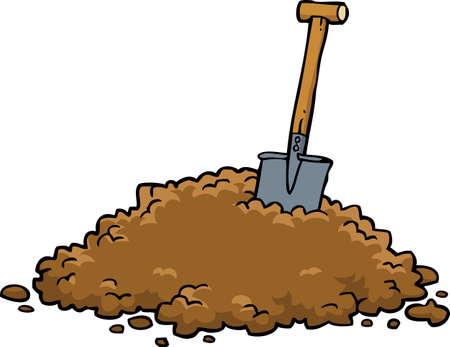 Ilustración de Shovel in a pile of earth on a white background vector illustration - Imagen libre de derechos