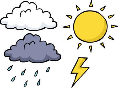 Ilustración de Doodle weather icon set on a white background vector illustration. - Imagen libre de derechos