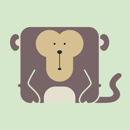 Illustration for Flat square icon of a cute brown monkey on green background - Royalty Free Image