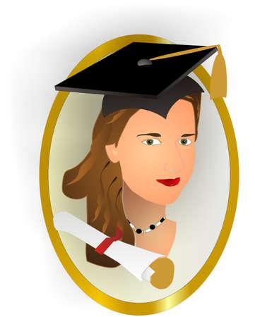 Female class graduates portrait