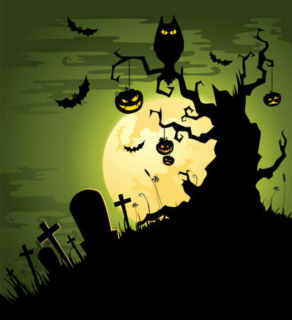 Creepy Halloween background in green